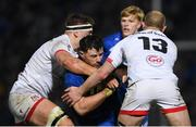 20 December 2019; Robbie Henshaw of Leinster is tackled by David O'Connor, left, and Matt Faddes of Ulster during the Guinness PRO14 Round 8 match between Leinster and Ulster at the RDS Arena in Dublin. Photo by Ramsey Cardy/Sportsfile