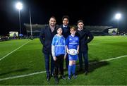 20 December 2019; Matchday mascot 12 year old Adam Kirwan, from Monasterevin, Co. Kildare, with Leinster players Dave Kearney, Joe Tomane and Rowan Osborne ahead of the Guinness PRO14 Round 8 match between Leinster and Ulster at the RDS Arena in Dublin. Photo by Ramsey Cardy/Sportsfile