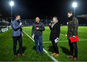 20 December 2019; Eir Sport presenter Tommy Bowe speaks with former Ulster player Rory Best, former Leinster player Gordon D'Arcy and former Munster player Donncha O'Callaghan prior to  the Guinness PRO14 Round 8 match between Leinster and Ulster at the RDS Arena in Dublin. Photo by Harry Murphy/Sportsfile