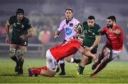21 December 2019; Caolin Blade of Connacht is tackled by Jeremy Loughman and Kevin O'Byrne of Munster during the Guinness PRO14 Round 8 match between Connacht and Munster at The Sportsground in Galway. Photo by Brendan Moran/Sportsfile