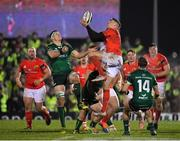 21 December 2019; Liam Coombes of Munster takes possession of a high ball ahead of Robin Copeland, left, and John Porch of Connacht during the Guinness PRO14 Round 8 match between Connacht and Munster at The Sportsground in Galway. Photo by Seb Daly/Sportsfile