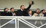 27 December 2019; Shane Lowry, centre, cheers on his horse, Theatre of War, with Jonathan Moore up, on their way to finishing second behind Leagan Gaeilge, with Sean Flanagan up, during The Paddy Power Only 364 Days Till Christmas 3-Y-O Maiden Hurdle during Day Two of the Leopardstown Christmas Festival 2019 at Leopardstown Racecourse in Dublin. Photo by Matt Browne/Sportsfile
