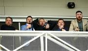 27 December 2019; Shane Lowry, centre, reacts as his horse, Theatre of War, with Jonathan Moore up, finishes second behind Leagan Gaeilge, with Sean Flanagan up, following The Paddy Power Only 364 Days Till Christmas 3-Y-O Maiden Hurdle during Day Two of the Leopardstown Christmas Festival 2019 at Leopardstown Racecourse in Dublin. Photo by Matt Browne/Sportsfile