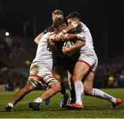 27 December 2019; Peter Robb of Connacht is tackled by Sean Reidy, left, and Stuart McCloskey of Ulster during the Guinness PRO14 Round 9 match between Ulster and Connacht at the Kingspan Stadium in Belfast. Photo by Ramsey Cardy/Sportsfile