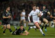 27 December 2019; Billy Burns of Ulster runs in to score his side's second try despite the tackle of Peter Robb of Connacht during the Guinness PRO14 Round 9 match between Ulster and Connacht at Kingspan Stadium in Belfast. Photo by Oliver McVeigh/Sportsfile