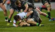 27 December 2019; Billy Burns of Ulster goes over to score his side's second try despite the tackle of Tiernan O'Halloran of Connacht during the Guinness PRO14 Round 9 match between Ulster and Connacht at Kingspan Stadium in Belfast. Photo by Oliver McVeigh/Sportsfile