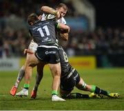27 December 2019; Will Addison of Ulster is tackled by Kyle Godwin and Robin Copeland of Connacht during the Guinness PRO14 Round 9 match between Ulster and Connacht at Kingspan Stadium in Belfast. Photo by Oliver McVeigh/Sportsfile