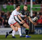 27 December 2019; Billy Burns of Ulster in action against Peter Robb of Connacht during the Guinness PRO14 Round 9 match between Ulster and Connacht at the Kingspan Stadium in Belfast. Photo by Ramsey Cardy/Sportsfile