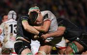 27 December 2019; Matty Rea of Ulster is tackled by Robin Copeland, left, and Joe Maksymiw of Connacht during the Guinness PRO14 Round 9 match between Ulster and Connacht at the Kingspan Stadium in Belfast. Photo by Ramsey Cardy/Sportsfile