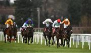 28 December 2019; The Bosses Oscar, with Davy Russell up, second from right, race clear of eventual second Fun Light, with JJ Slevin up, right, and eventual third Jon Snow, with Paul Townend up, to win the the Tote Supporting Leopardstown Maiden Hurdle during Day Three of the Leopardstown Christmas Festival 2019 at Leopardstown Racecourse in Dublin. Photo by David Fitzgerald/Sportsfile