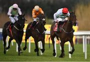 28 December 2019; The Bosses Oscar, with Davy Russell up, right, race clear of eventual second Fun Light, with JJ Slevin up, centre, and eventual third Jon Snow, with Paul Townend up, to win the the Tote Supporting Leopardstown Maiden Hurdle during Day Three of the Leopardstown Christmas Festival 2019 at Leopardstown Racecourse in Dublin. Photo by David Fitzgerald/Sportsfile