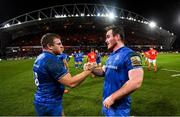 28 December 2019; Seán Cronin, left, and Peter Dooley of Leinster following the Guinness PRO14 Round 9 match between Munster and Leinster at Thomond Park in Limerick. Photo by Ramsey Cardy/Sportsfile