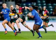 28 December 2019; Linda Djougang of Leinster on her way to scoring her side's second try during the Women's Rugby Friendly between Harlequins and Leinster at Twickenham Stadium in London, England. Photo by Matt Impey/Sportsfile