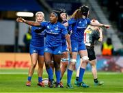 28 December 2019; Linda Djougang of Leinster celebrates with team-mates after scoring her side's second try during the Women's Rugby Friendly between Harlequins and Leinster at Twickenham Stadium in London, England. Photo by Matt Impey/Sportsfile