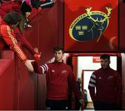 28 December 2019; Ben Healy, left, and John Hodnett of Munster ahead of the Guinness PRO14 Round 9 match between Munster and Leinster at Thomond Park in Limerick. Photo by Ramsey Cardy/Sportsfile