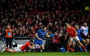 28 December 2019; Conor O'Brien of Leinster is tackled by Sammy Arnold of Munster during the Guinness PRO14 Round 9 match between Munster and Leinster at Thomond Park in Limerick. Photo by Ramsey Cardy/Sportsfile