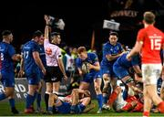 28 December 2019; Leinster's Ciarán Frawley, centre, celebrates during the Guinness PRO14 Round 9 match between Munster and Leinster at Thomond Park in Limerick. Photo by Ramsey Cardy/Sportsfile