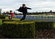 29 December 2019; Peter McGrane, aged nine, from Drogheda, leads the race ahead of his brother Harry McGrane, aged eight, during Day Four of the Leopardstown Christmas Festival 2019 at Leopardstown Racecourse in Dublin. Photo by Harry Murphy/Sportsfile