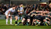 27 December 2019; Caolin Blade of Connacht waiting to put the ball into the scrum as John Cooney of Ulster stands close during the Guinness PRO14 Round 9 match between Ulster and Connacht at Kingspan Stadium in Belfast. Photo by Oliver McVeigh/Sportsfile