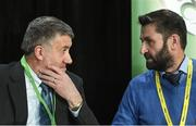 29 December 2019; FAI lead executive Paul Cooke, left, in conversation with board member John Finnegan during the FAI Annual General Meeting at the Citywest Hotel in Dublin. Photo by Ramsey Cardy/Sportsfile