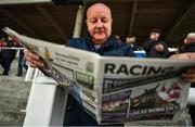 29 December 2019; Billy Blackwood from Belfast, Co Antrim studys the form during Day Four of the Leopardstown Christmas Festival 2019 at Leopardstown Racecourse in Dublin. Photo by David Fitzgerald/Sportsfile