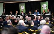 29 December 2019; The FAI board, from left, Richard Shakespeare, David Moran, Joseph O'Brien, President Donal Conway, lead executive Paul Cooke, John Finnegan, Ursula Scully, Martin Heraghty, during the FAI Annual General Meeting at the Citywest Hotel in Dublin. Photo by Ramsey Cardy/Sportsfile