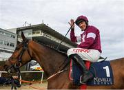 29 December 2019; Davy Russell on Battleoverdoyen after winning the Neville Hotels Novice Steeplechase during Day Four of the Leopardstown Christmas Festival 2019 at Leopardstown Racecourse in Dublin. Photo by Harry Murphy/Sportsfile