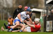 29 December 2019; Chris O'Leary of Cork is tackled by Patrick Curran of Waterford during the Co-op Superstores Munster Hurling League 2020 Group B match between Waterford and Cork at Fraher Field in Dungarvan, Waterford. Photo by Eóin Noonan/Sportsfile