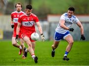 29 December 2019; Shea Downey of Derry in action against Dessie Ward of Monaghan during the Bank of Ireland Dr McKenna Cup Round 1 match between Monaghan and Derry at Grattan Park in Inniskeen, Monaghan. Photo by Philip Fitzpatrick/Sportsfile