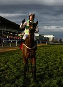 29 December 2019; Patrick Mullins celebrates on Sharjah after winning the Matheson Hurdle during Day Four of the Leopardstown Christmas Festival 2019 at Leopardstown Racecourse in Dublin. Photo by Harry Murphy/Sportsfile