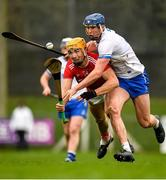 29 December 2019; Michael O'Halloran of Cork is tackled by Conor Prunty of Waterford during the Co-op Superstores Munster Hurling League 2020 Group B match between Waterford and Cork at Fraher Field in Dungarvan, Waterford. Photo by Eóin Noonan/Sportsfile