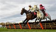 29 December 2019; Sharjah, with Patrick Mullins up, left, clear the last alongside Petit Mouchoir, with Rachael Blackmore up, on their way to winning the Matheson Hurdle during Day Four of the Leopardstown Christmas Festival 2019 at Leopardstown Racecourse in Dublin. Photo by David Fitzgerald/Sportsfile