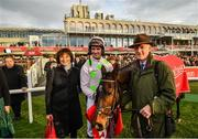 29 December 2019; Patrick Mullins with Sharjah, his father and trainer Willie Mullins and mother Jackie after winning the Matheson Hurdle during Day Four of the Leopardstown Christmas Festival 2019 at Leopardstown Racecourse in Dublin. Photo by David Fitzgerald/Sportsfile