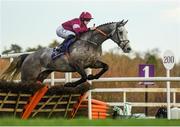 29 December 2019; Cavalry Master, with Rachael Blackmore up, jump the last during the Irish Stallion Farms EBF Novice Handicap Hurdle on Day Four of the Leopardstown Christmas Festival 2019 at Leopardstown Racecourse in Dublin. Photo by Harry Murphy/Sportsfile