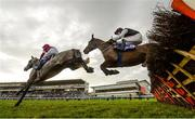 29 December 2019; Cavalry Master, with Rachael Blackmore up, left, and Flooring Porter, with Jonathan Moore up, jump the last during the Irish Stallion Farms EBF Novice Handicap Hurdle on Day Four of the Leopardstown Christmas Festival 2019 at Leopardstown Racecourse in Dublin. Photo by Harry Murphy/Sportsfile