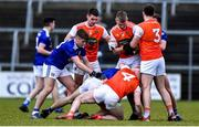 29 December 2019; Conor Madden of Cavan and Aiden Forker of Armagh are involved in a tussle of the ball during the Bank of Ireland Dr McKenna Cup Round 1 match between Cavan and Armagh at Kingspan Breffni in Cavan. Photo by Ben McShane/Sportsfile