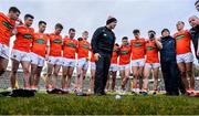 29 December 2019; Armagh manager Kieran McGeeney speaks to his players following their victory of the Bank of Ireland Dr McKenna Cup Round 1 match between Cavan and Armagh at Kingspan Breffni in Cavan. Photo by Ben McShane/Sportsfile