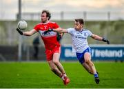 29 December 2019; Padraig Cassidy of Derry in action against Michael Bannigan of Monaghan during the Bank of Ireland Dr McKenna Cup Round 1 match between Monaghan and Derry at Grattan Park in Inniskeen, Monaghan. Photo by Philip Fitzpatrick/Sportsfile