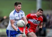 29 December 2019; Darren Hughes of Monaghan in action against Ciaran McFaul of Derry during the Bank of Ireland Dr McKenna Cup Round 1 match between Monaghan and Derry at Grattan Park in Inniskeen, Monaghan. Photo by Philip Fitzpatrick/Sportsfile