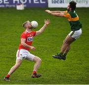 29 December 2019; Ruairi Deane of Cork is struck in the face by a ball while contesting possession with Cormac Coffey of Kerry during the 2020 McGrath Cup Group B match between Kerry and Cork at Austin Stack Park in Tralee, Kerry. Photo by Brendan Moran/Sportsfile