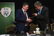 29 December 2019; FAI President Donal Conway, left, and FAI lead executive Paul Cooke during a press conference following the FAI Annual General Meeting at the Citywest Hotel in Dublin. Photo by Ramsey Cardy/Sportsfile
