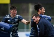 30 December 2019; Dan Sheehan, left, Peter Dooley, centre, and Joe Tomane during Leinster Rugby squad training at Energia Park in Donnybrook, Dublin. Photo by Ramsey Cardy/Sportsfile