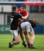 2 January 2020; Jamie Rafferty of North East Area is tackled by Oscar Hurley, left, and Turlough O'Brien of Metro Area during the Shane Horgan Cup Round 3 match between Metro Area and North East Area at Energia Park in Donnybrook, Dublin. Photo by David Fitzgerald/Sportsfile