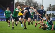 2 January 2020; Oisin Cooke of North Midlands Area on his way to scoring his side's first try despite the tackle from Bobby Connolly of South East Area during the Shane Horgan Cup Round 3 match between North Midlands Area and South East Area at Energia Park in Donnybrook, Dublin. Photo by David Fitzgerald/Sportsfile