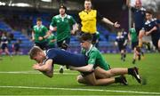 2 January 2020; Oisin Cooke of North Midlands Area goes over to score his side's first try despite the tackle from Bobby Connolly of South East Area during the Shane Horgan Cup Round 3 match between North Midlands Area and South East Area at Energia Park in Donnybrook, Dublin. Photo by David Fitzgerald/Sportsfile
