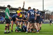 2 January 2020; Oisin Cooke of North Midlands Area is congratulated by team-mates after scoring his side's first try during the Shane Horgan Cup Round 3 match between North Midlands Area and South East Area at Energia Park in Donnybrook, Dublin. Photo by David Fitzgerald/Sportsfile
