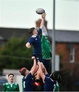 2 January 2020; Mark Alexander of North Midlands Area wins possession from a line-out during the Shane Horgan Cup Round 3 match between North Midlands Area and South East Area at Energia Park in Donnybrook, Dublin. Photo by David Fitzgerald/Sportsfile