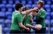 2 January 2020; Bobby Connolly of South East Area, centre, is congratulated by team-mates after scoring his side's second try during the Shane Horgan Cup Round 3 match between North Midlands Area and South East Area at Energia Park in Donnybrook, Dublin. Photo by David Fitzgerald/Sportsfile