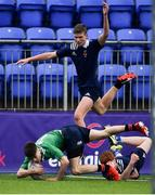 2 January 2020; Scott Fitzpatrick of South East Area is tackled short of the tryline by Oisin Grufferty of North Midlands Area during the Shane Horgan Cup Round 3 match between North Midlands Area and South East Area at Energia Park in Donnybrook, Dublin. Photo by David Fitzgerald/Sportsfile