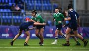 2 January 2020; Oran Kelly of South East Area is tackled by Dylan O'Keefe of North Midlands Area during the Shane Horgan Cup Round 3 match between North Midlands Area and South East Area at Energia Park in Donnybrook, Dublin. Photo by David Fitzgerald/Sportsfile